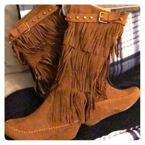 Nature Breeze Shoes - Moccasin Fringe Boots